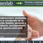 Subvenciones  destinadas  a  la  conciliación  de  la  vida  familiar,  personal  y  laboral,  correspondiente  al  ejercicio 2019-2020